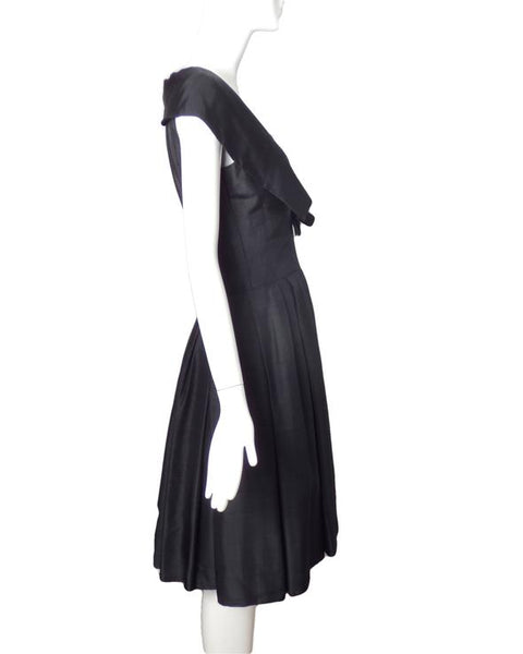 1950s Black Pleated Silk Dress, Size-6