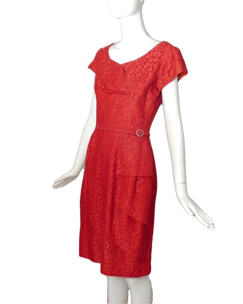 1950s Red Lace Dinner Dress, Size-8