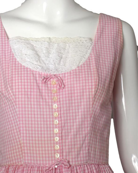 1960s Pink & White Gingham Cotton Dress, Size-6