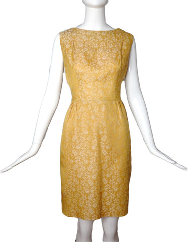1960s Gold Brocade Dress & Jacket Ensemble, Size-8