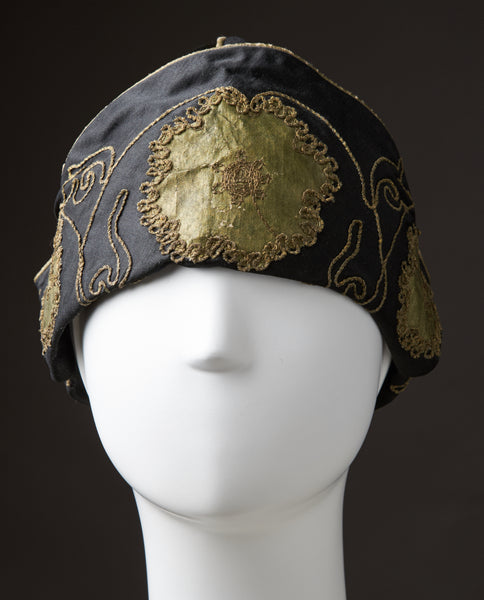 Black Silk-Satin Cloche With Off-Width Turned Brim