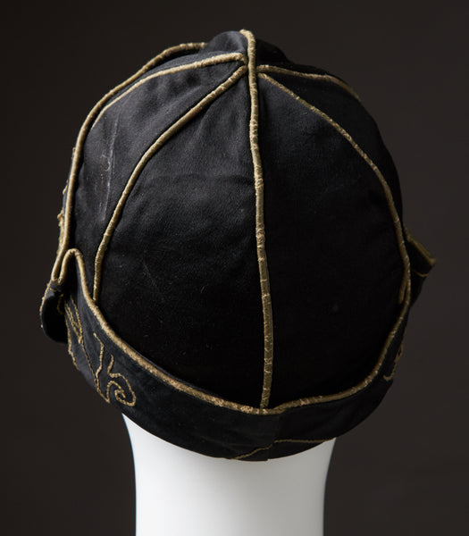 Black Silk-Satin Cloche With Off-Width Turned-Turned-Brim