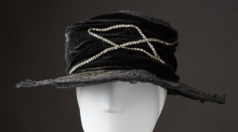 Wide Brim Lace and Velvet Hat