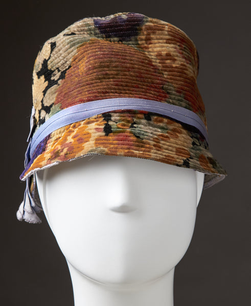 "Multi-colored Printed Velvet Cloche, ""Fiskhats"""