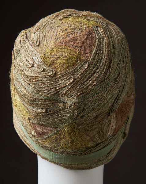 "Evening Cloche of Gold Braid and Mohair, ""Paige"""