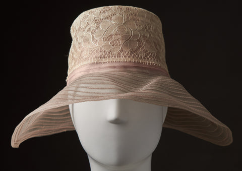 Pale Pink and Lace Horsehair Cloche