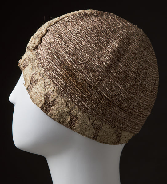 Camel Colored Woven, Banded Straw Cloche With Crochet Thread Flowers, Fiskhats