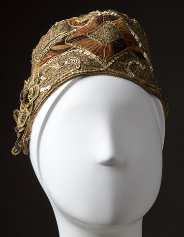 Gold Metallic Evening Cloche Decorated with Velvet And Sequins