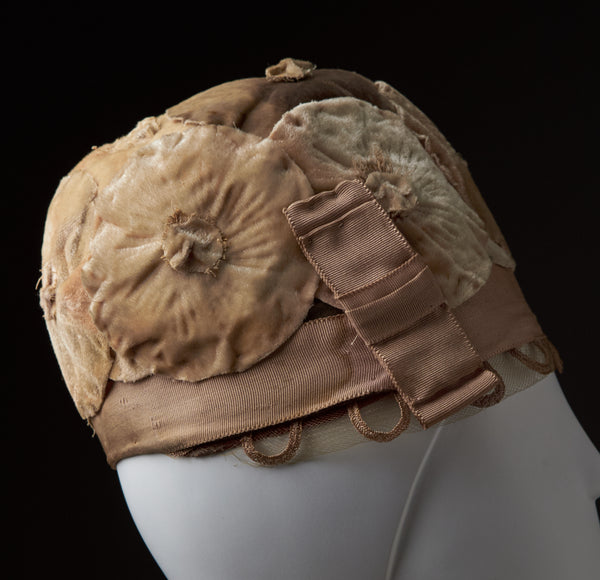 "Peach Cloche Covered In Velvet Flowers, ""Ideal Hats"""