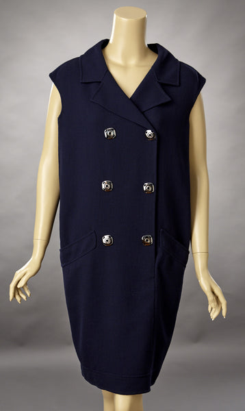 Oscar de la Renta Navy Blue Wool Sleeveless Dress