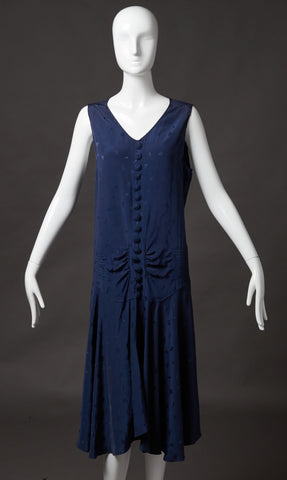 Navy Blue Silk Jacquard Dress