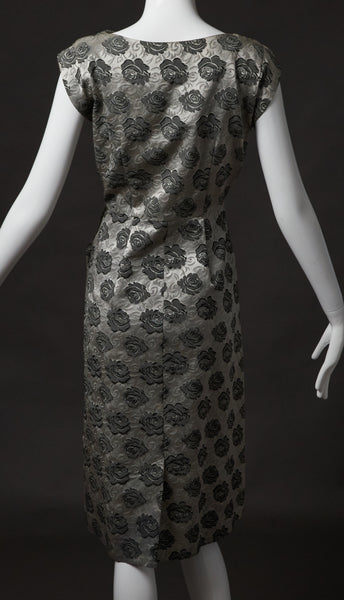 Silver Floral Brocade Cocktail Dress