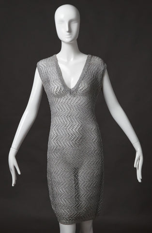 Alexander McQueen Silver Open Weave Dress