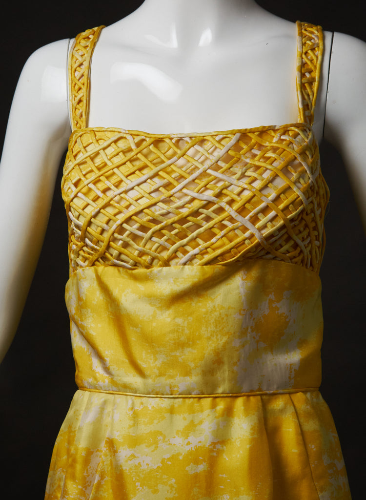 Seymour Jacobson Yellow Silk Sundress Woodland Farms Vintage