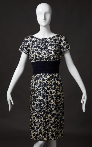 Park Lane, Navy and White Silk Floral Dress