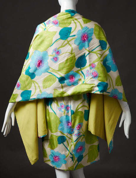 Spring Floral Silk Dress with Matching Shawl