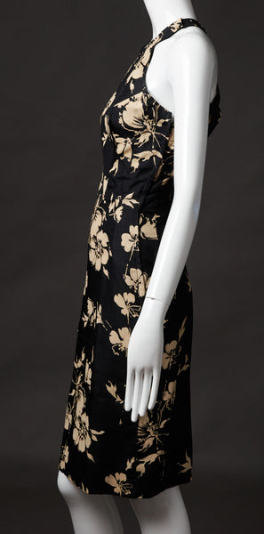Luis Estevez Black and Ivory Silk Floral Dress