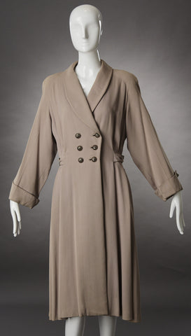 Beige Gabardine Trench Coat with Pleating