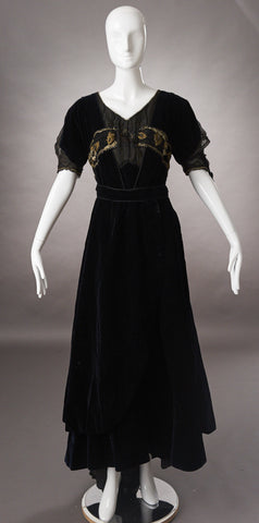 Late Victorian Deepest Navy Blue Velvet Evening Dress