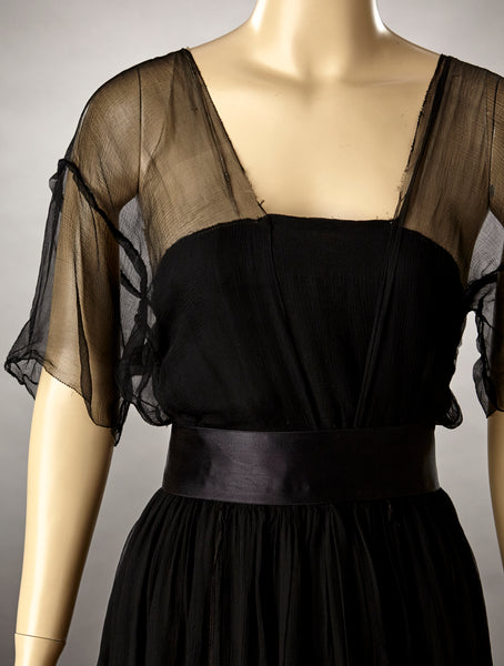 Edwardian Black Silk Georgette Dress