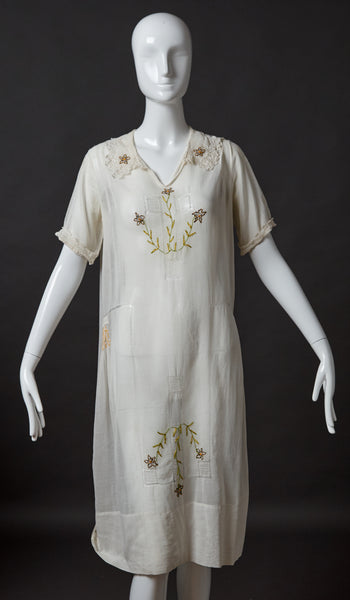 White Cotton Lawn Dress with Embroidery, Clocking and Smocking
