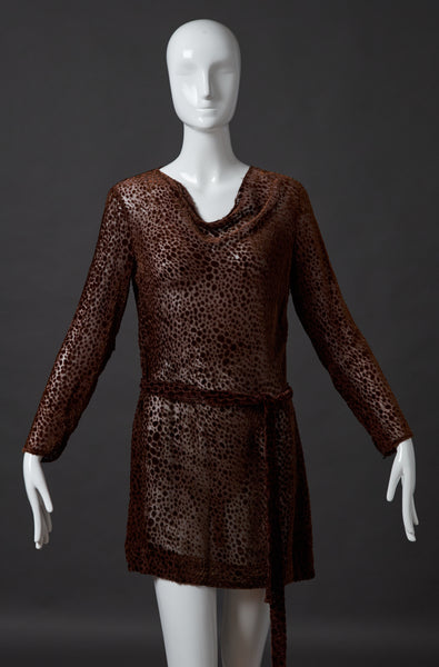 Sable Brown Burnout Velvet Tunic with Belt