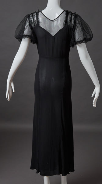 Black Silk Crepe Evening Gown with Net Lace Puff Sleeves