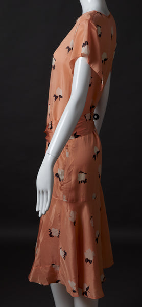 Cantaloupe Colored Silk Print Dress