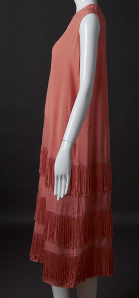 Orange Silk Crepe Dress with Fringe