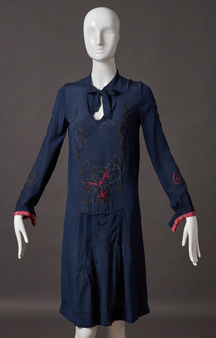 Navy Blue Silk Embroidered Dress
