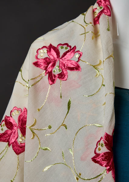 Embroidery Silk Crepe Shawl