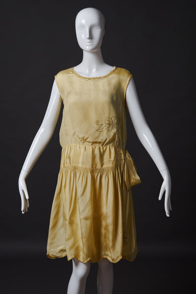 Light Yellow Silk Dress with Beaded Decor