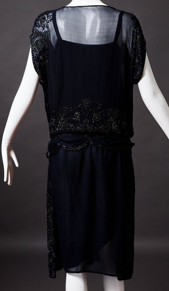 Navy Silk Georgette Beaded Evening Dress