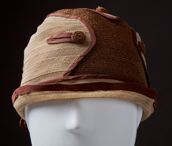 Two-Tone Brown Woven Cloche