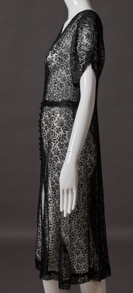 Black Lace Button Front Dress