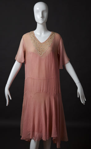 Pink Silk Crepe Drop Waist Dress with Rhinestones