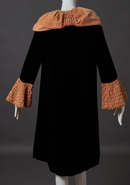 Black Silk Velvet Evening Coat with Apricot Velvet Collar and Sleeves