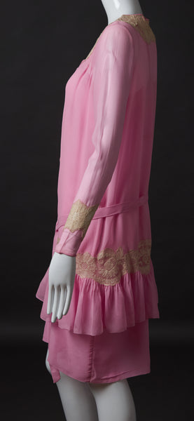 Bright Pink Silk Georgette 2 PC Dress