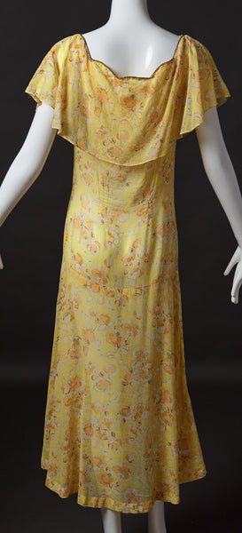 Yellow Cotton Long Dress with Orange Floral Print
