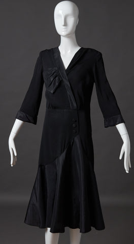 Black Silk Crepe and Taffeta Dress