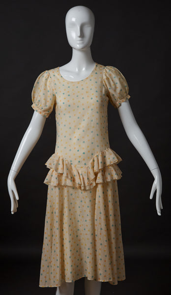 Pale Yellow Cotton Print Day Dress