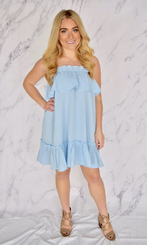 Sky Blue Ruffle Dress