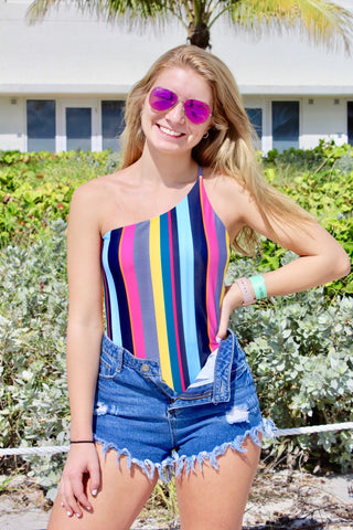 One-Shoulder Striped Swimmy