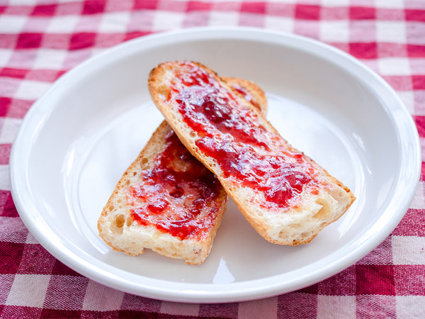 strawberry jam and butter tartine