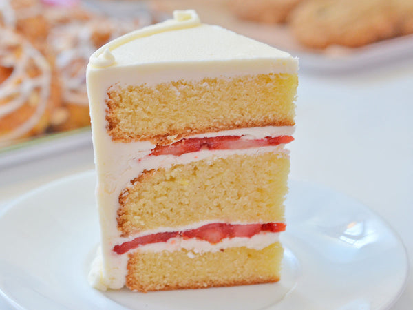 gluten-free vanilla strawberry cake slice