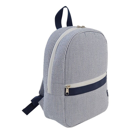 Navy Blue Seersucker Backpack