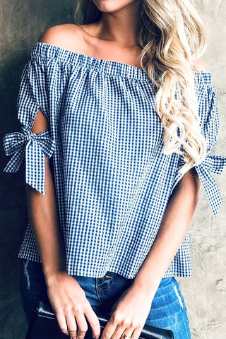Navy Plaid Off the Shoulder Top