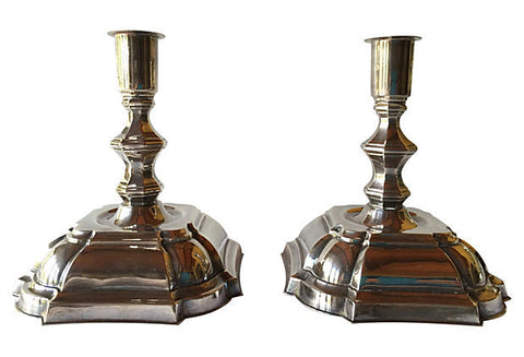 Danish Silver Candlesticks, Pair