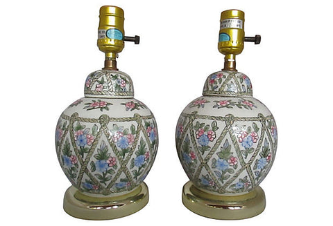 A European Country Floral Lamps, Pair