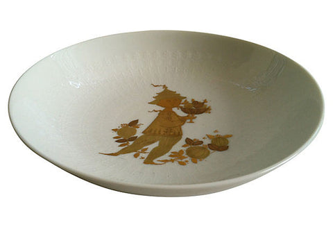 Danish Art Bowl w/ Gold Leaf